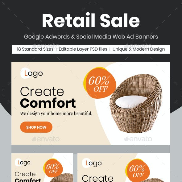 Retail Sale Web Ad Banners - Chair
