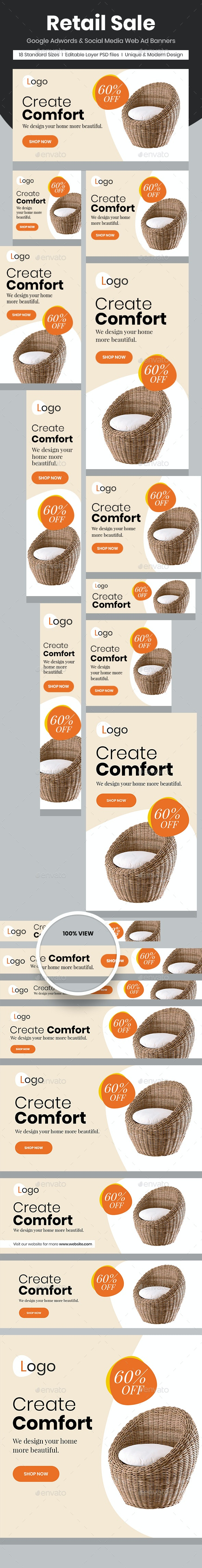 Retail Sale Web Ad Banners - Chair - Banners & Ads Web Elements