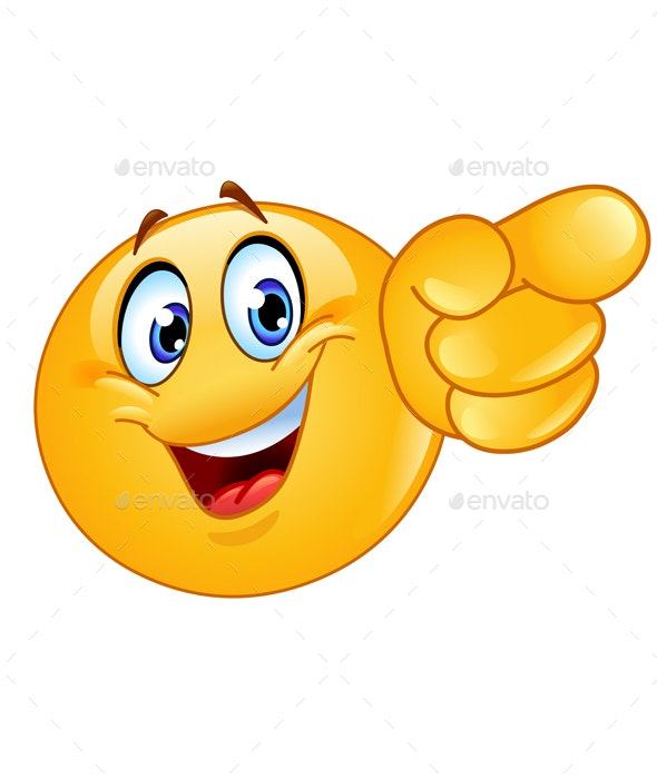 Pointing Forward Emoticon - People Characters