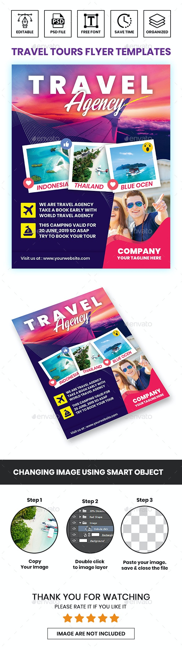 Travel Tours Flyer Templates - Corporate Business Cards