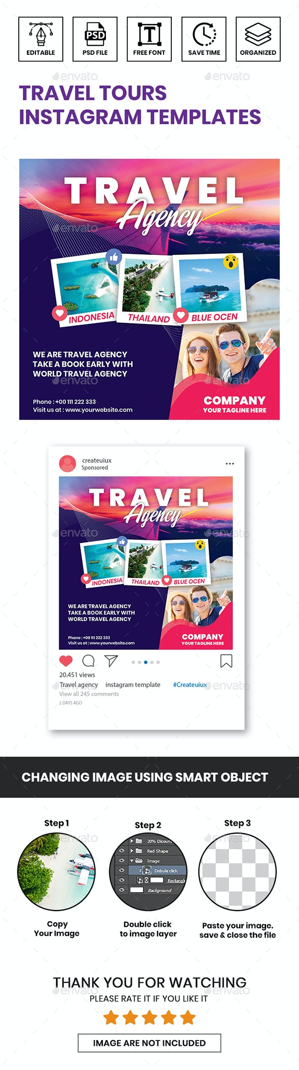 Travel Tours Instagram Templates - Social Media Web Elements