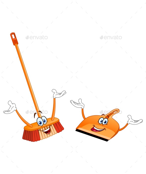Broom and Dustpan Cartoon - Man-made Objects Objects