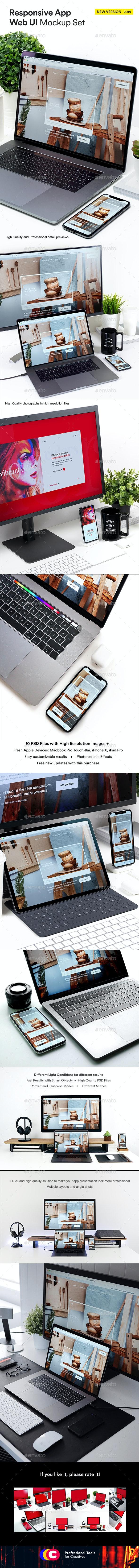 Responsive Mockup Set App Web UI Laptop Phone Tablet Pro