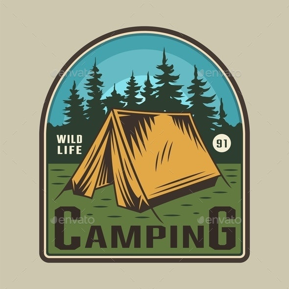 Vintage Camping Time Emblem - Sports/Activity Conceptual