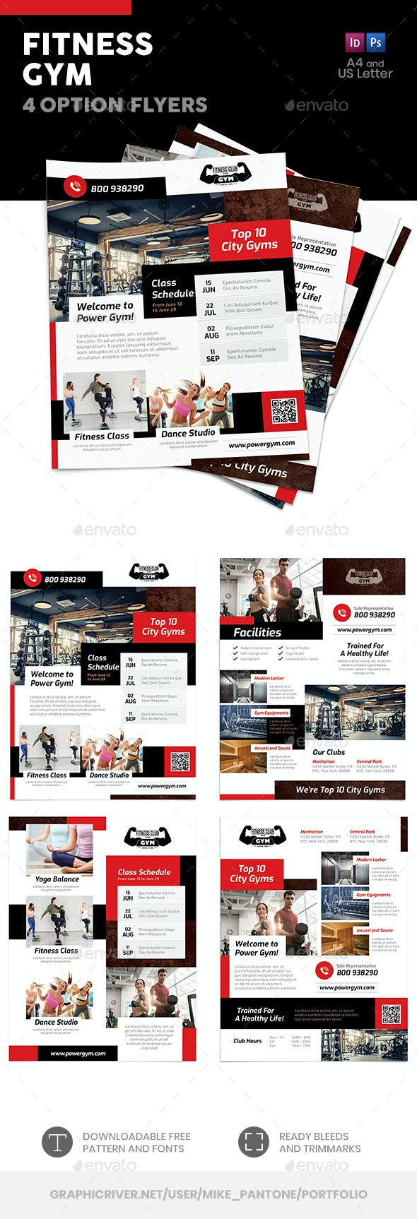 Fitness Gym Flyers 7 – 4 Options - Commerce Flyers