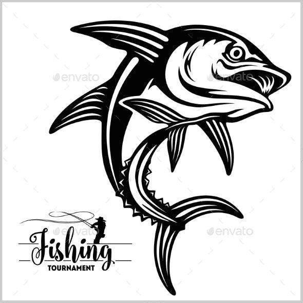Tuna Fishing on White Logo Illustration - Animals Characters