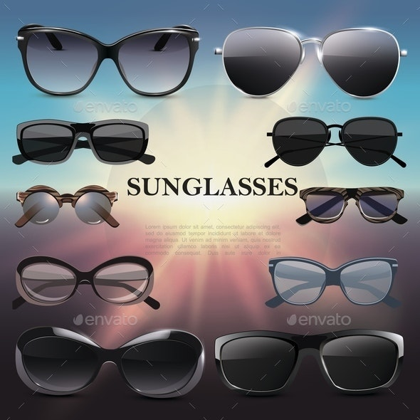 Realistic Stylish Sunglasses Template - Miscellaneous Vectors