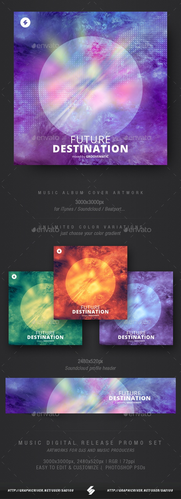 Future Destination - Electronic Music Album Cover Artwork Template - Miscellaneous Social Media