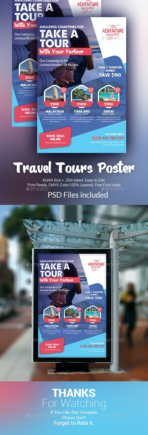 Travel Tours Poster Template - Signage Print Templates