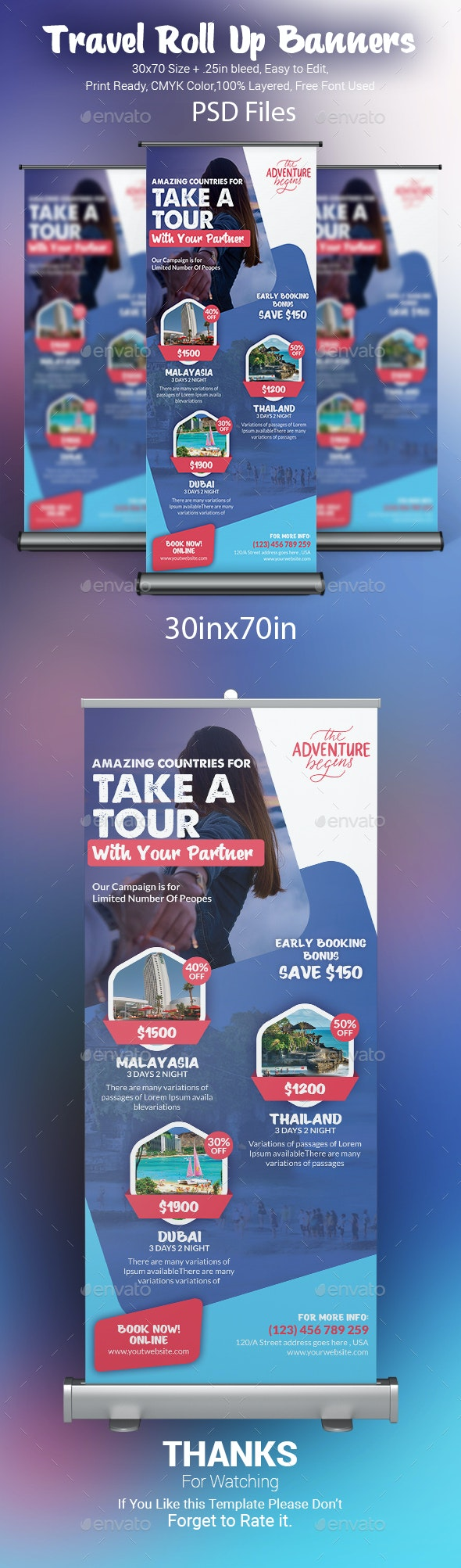 Travel Tours Roll-Up Banner Template - Signage Print Templates