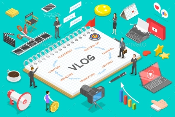 Flat Isometric Vector Concept of Video Blog Vlog - People Characters