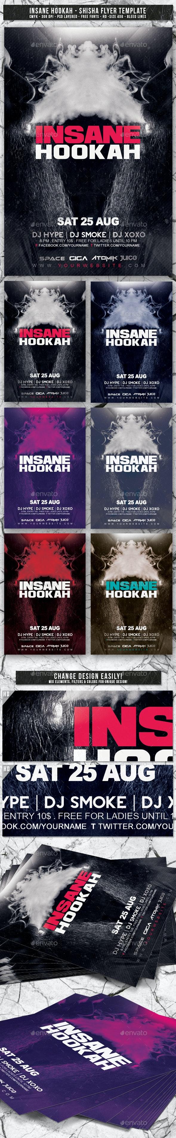 Insane Hookah | Shisha Flyer Template - Events Flyers