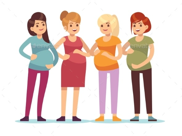Pregnant Women Group - People Characters
