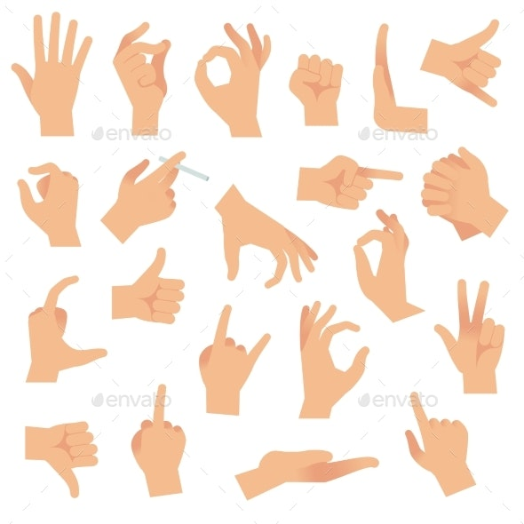 Flat Hand Gestures - People Characters