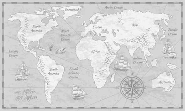 Gray World Map - Miscellaneous Vectors
