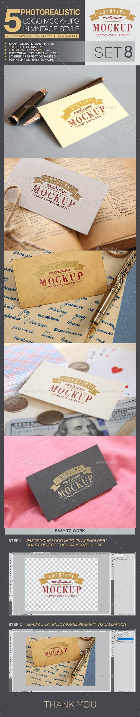 5 Logo Mock-Ups In Vintage Style - Set 8 - Logo Product Mock-Ups