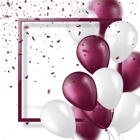 3d Balloons with Confetti and Frame - Miscellaneous Vectors