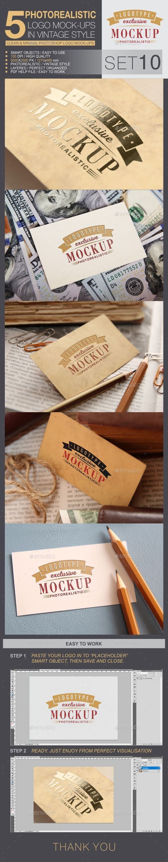 5 Logo Mock-Ups In Vintage Style - Set 10 - Logo Product Mock-Ups