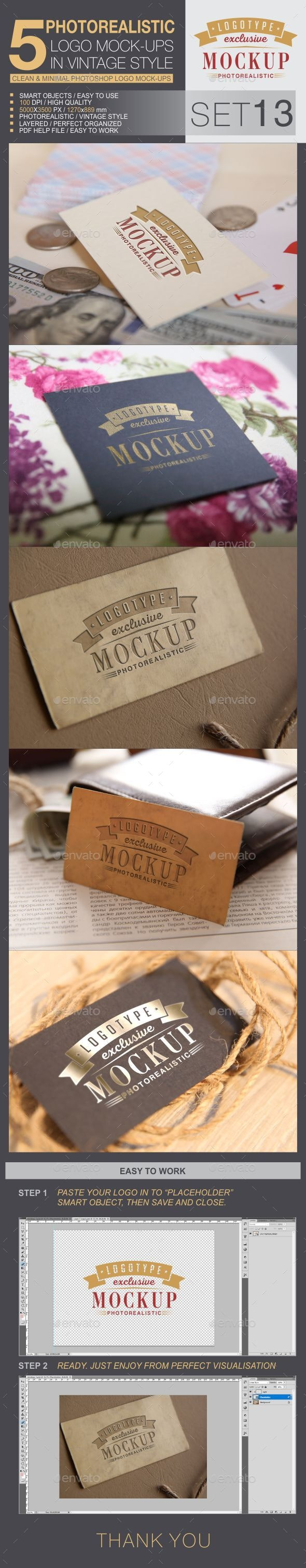 5 Logo Mock-Ups In Vintage Style - Set 13 - Logo Product Mock-Ups