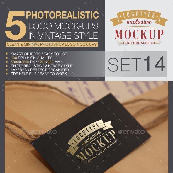 5 Logo Mock-Ups In Vintage Style - Set 14