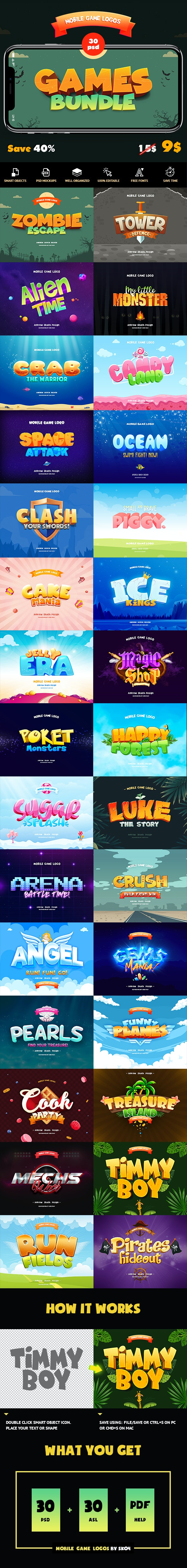Game Titles Bundle - 30 Text Effects