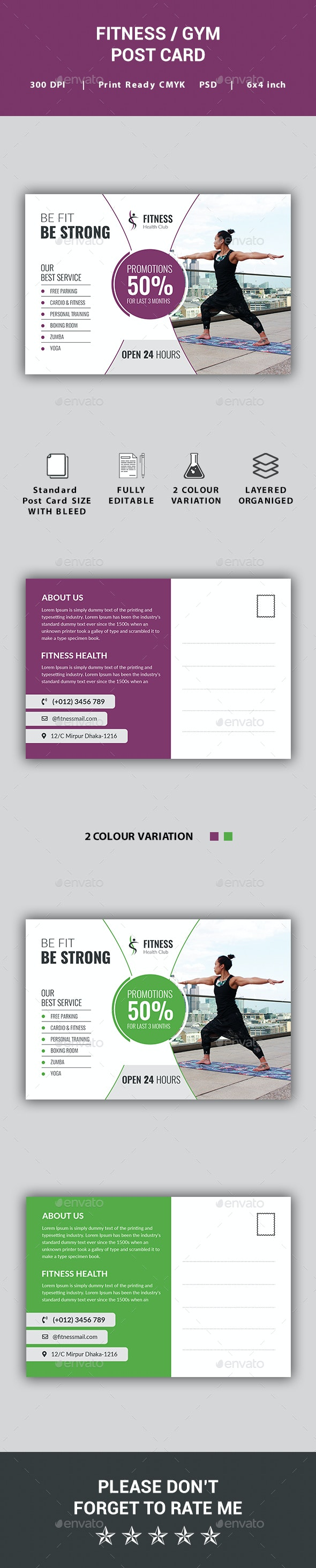 Fitness / Gym Post Card - Cards & Invites Print Templates