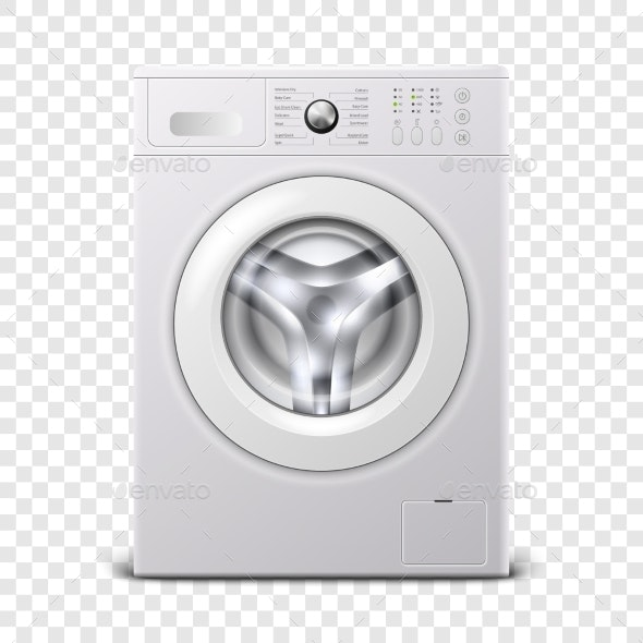 Vector 3D Realistic Modern White Steel Washing - Man-made Objects Objects