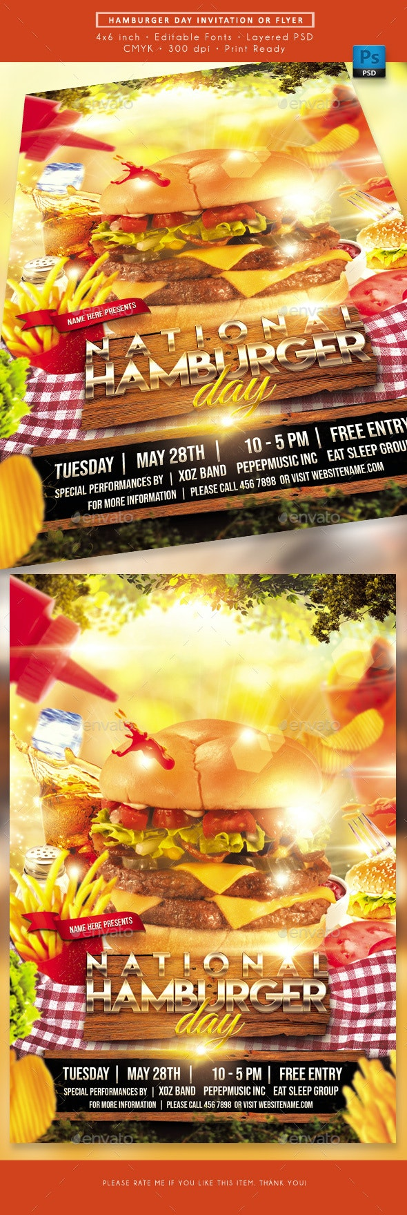Hamburger Day Fast Food Flyer - Events Flyers