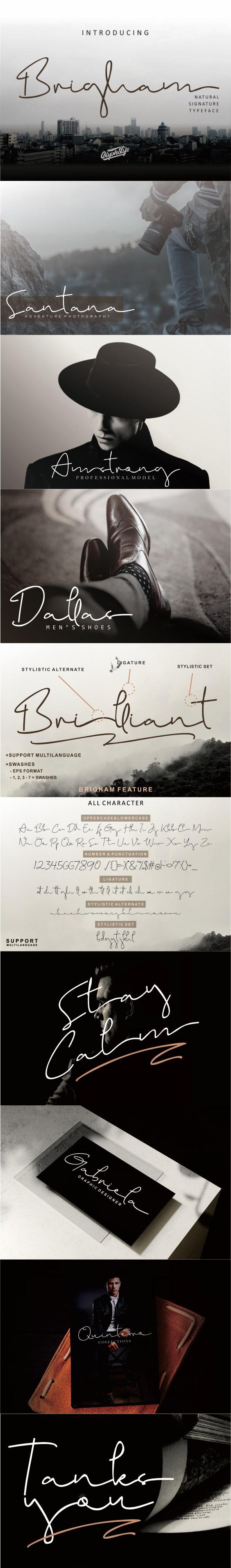 Brigham Signature Script - Hand-writing Script