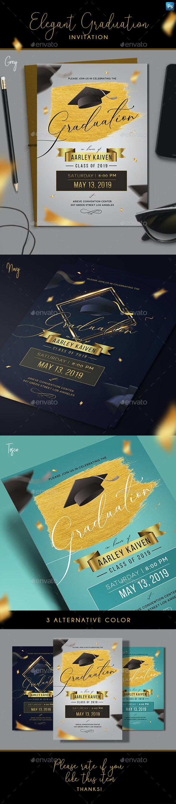 Elegant Graduation Invitation - Invitations Cards & Invites