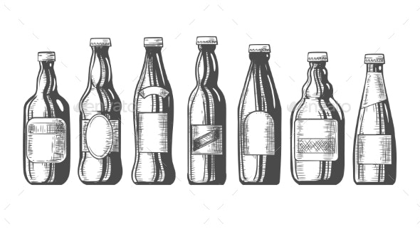 Beer Bottles Sketch Icons Set - Food Objects