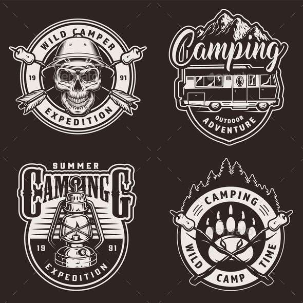 Vintage Summer Camping Prints - Miscellaneous Vectors