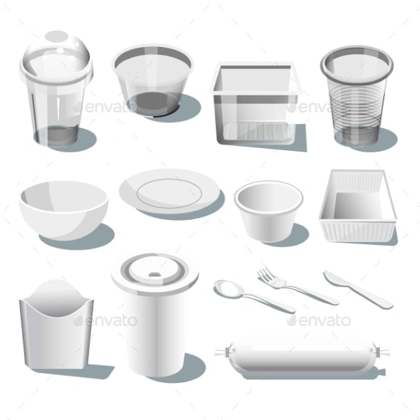 Disposable Plastic Dishware or Tableware Isolated - Food Objects