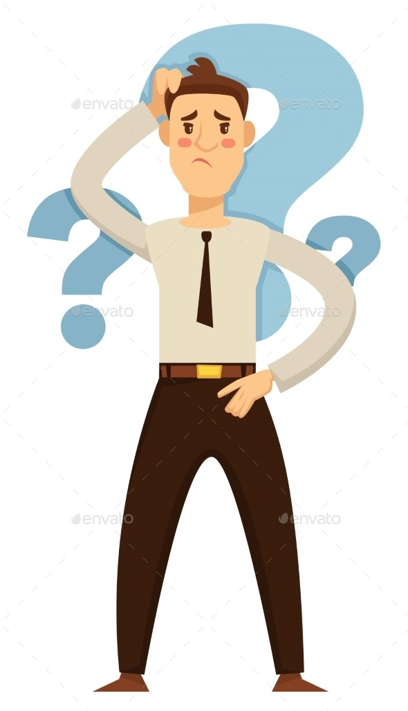 Businessman Making Decision Hesitation and Doubt - People Characters