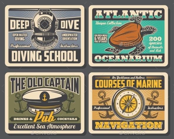 Diving School Oceanarium Nautical Adventure - Miscellaneous Vectors