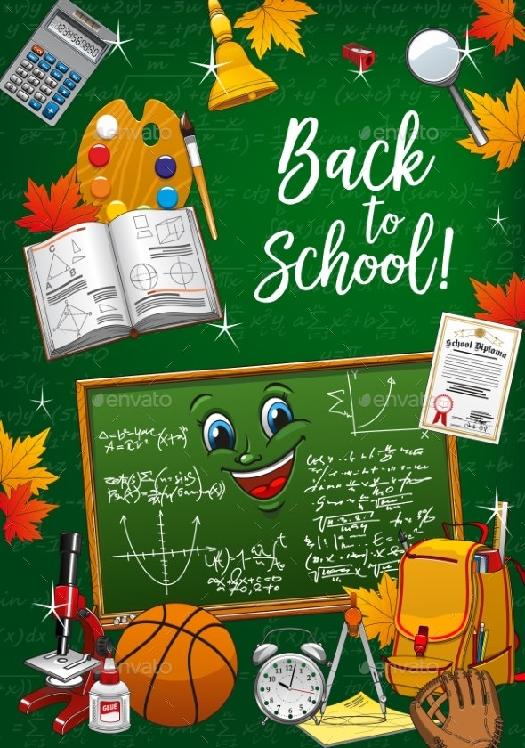 Back To School Student Supplies and Chalkboard - Backgrounds Decorative