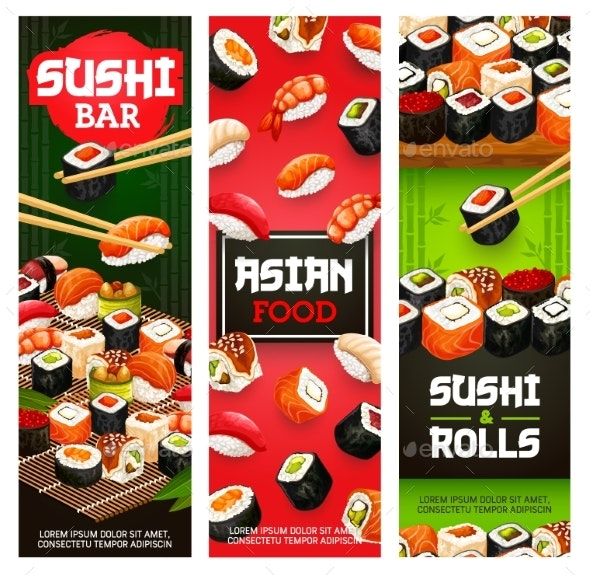 Asian Sushi Food Japanese Seafood and Fish Rolls - Food Objects