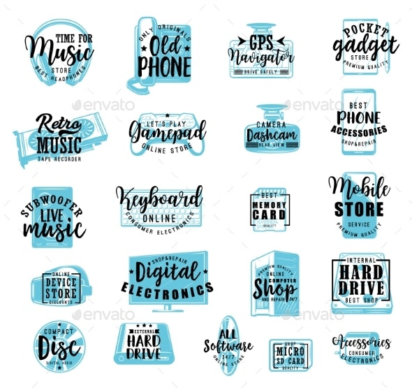 Electronic Digital Gadgets and Devices Lettering - Decorative Symbols Decorative