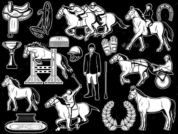 Equestrian Club Jockey Polo Horse Riding Items - Sports/Activity Conceptual