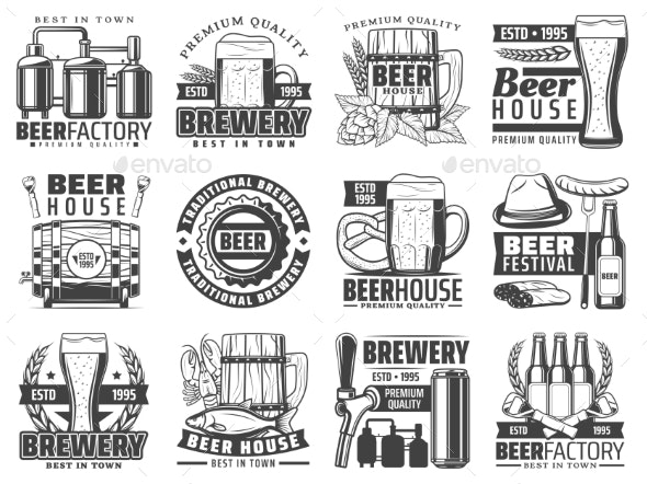Craft Beer Pub Brewing Factory Icons - Decorative Symbols Decorative