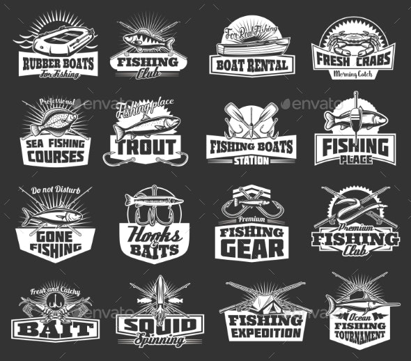 Fishing Club Adventure Icons - Sports/Activity Conceptual