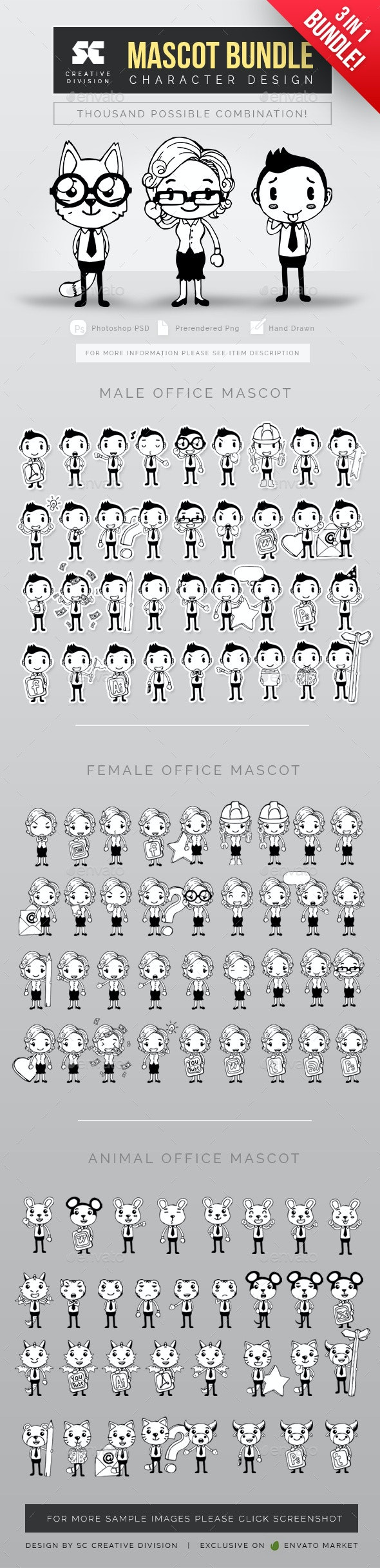 Hand Drawn Office Mascot Bundle - Characters Illustrations