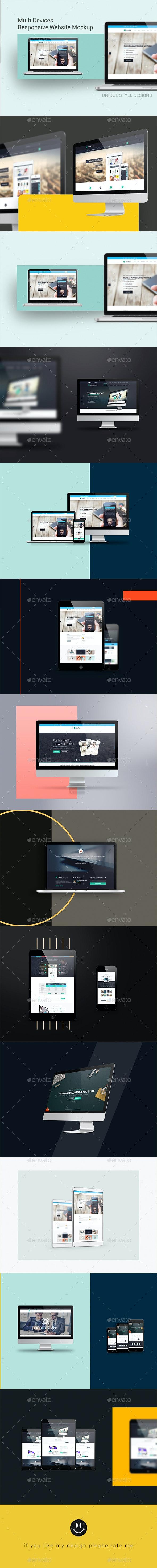 Multi Devices Responsive Website Mockup - Displays Product Mock-Ups