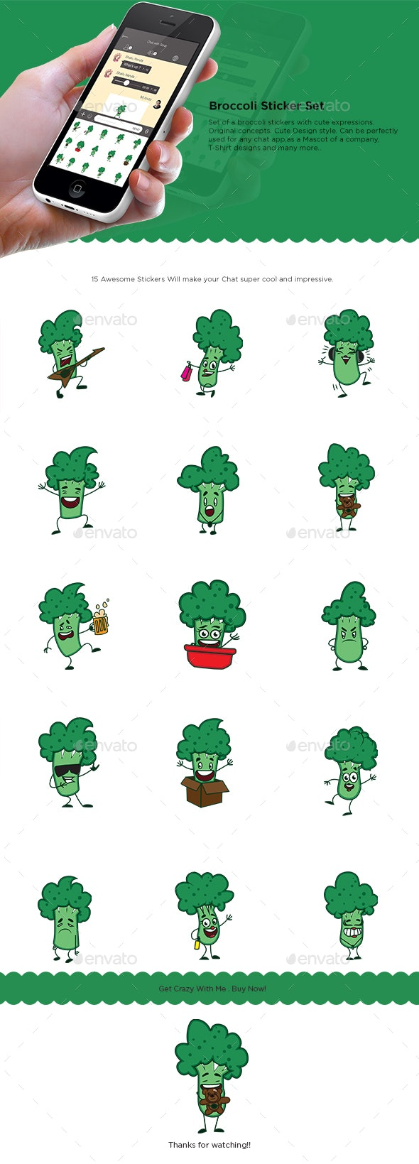Cartoon Broccoli Sticker Set - Food Objects