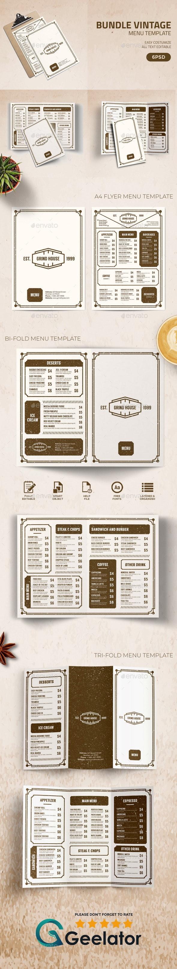 Bundle Vintage Menu Template - Food Menus Print Templates