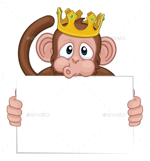 Monkey King Crown Cartoon Animal Holding Sign - Animals Characters
