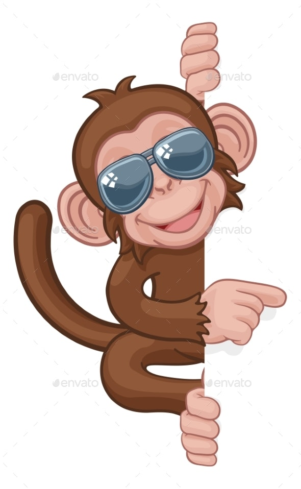 Monkey Sunglasses Cartoon Animal Pointing At Sign - Animals Characters
