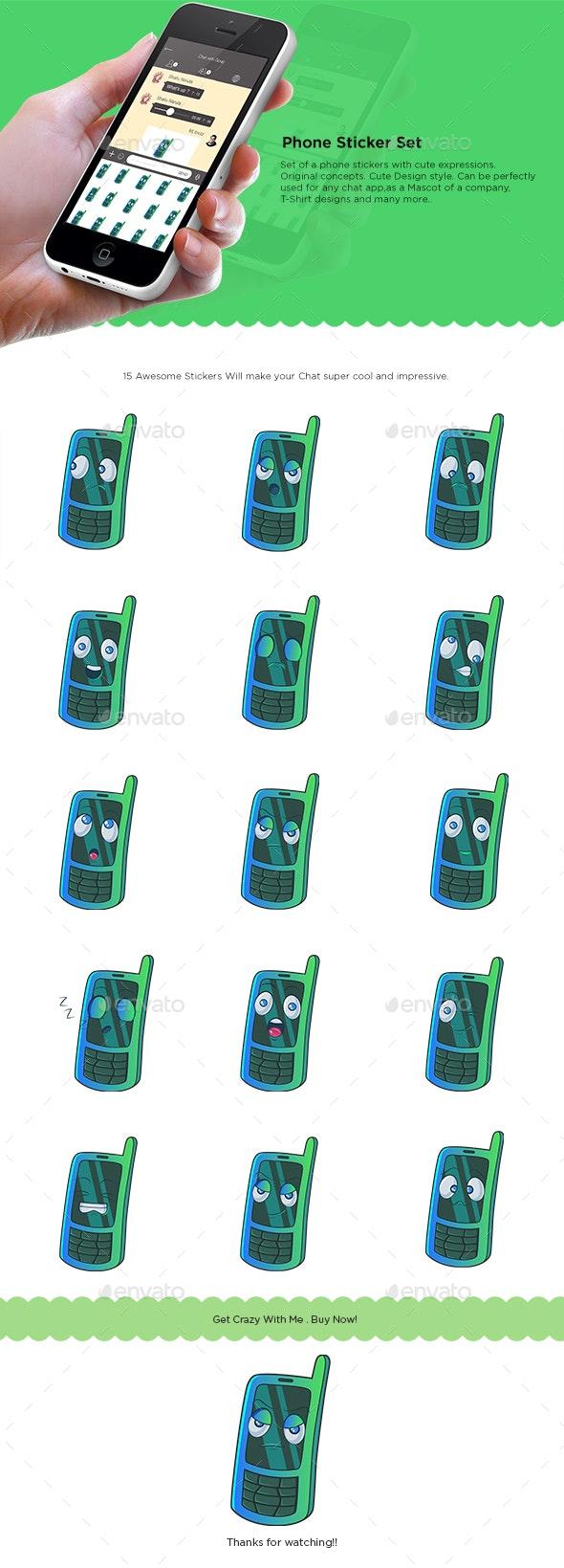 Cartoon Phone Sticker Set - Miscellaneous Characters
