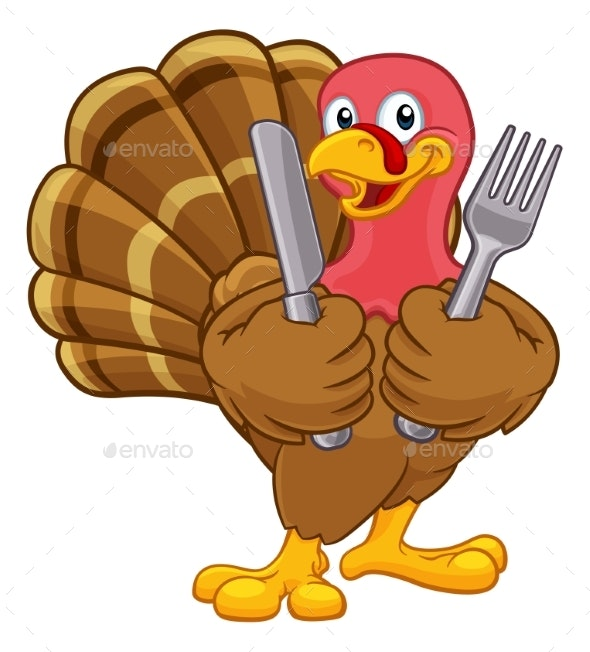 Turkey Thanksgiving or Christmas Cartoon Character - Animals Characters