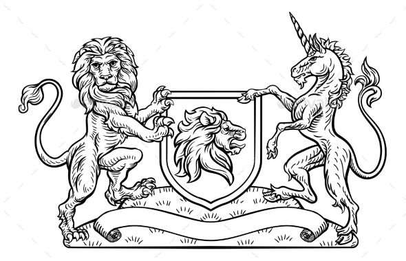 Coat of Arms Heraldic Lion and Unicorn Shield - Animals Characters